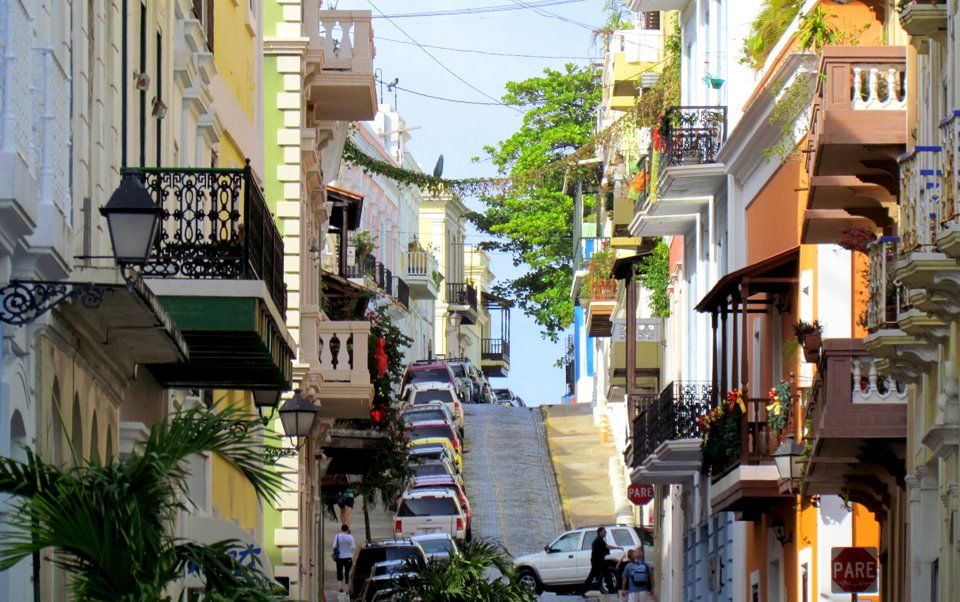 Colorful Streets Packed with Cars in Old San Juan