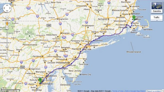 Washington dc road trip announcement map of the route from boston to dc publicscrutiny Image collections