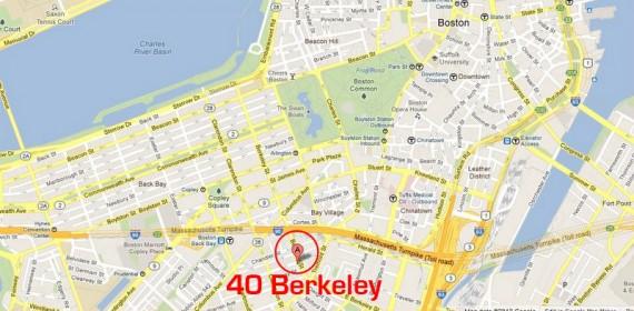 Map of 40 Berkeley Hostel Boston, Massachusetts