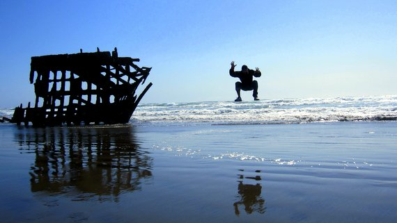 Peter Iredale Wreck Jump Photo