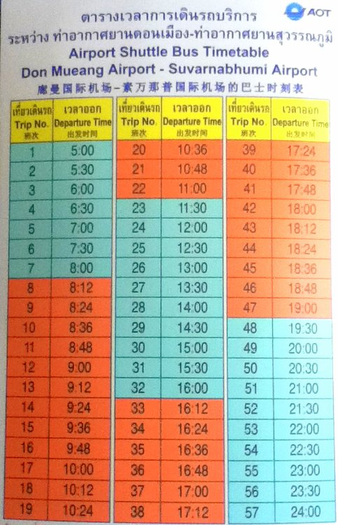 DMK to BKK Free Shuttle Bus Schedule