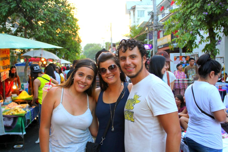Fernanda, Liz and Arturo - Sunday Night Market - Chiang Mai, Thailand