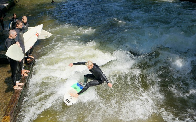 Surfing the Eisbach Munich, Germany