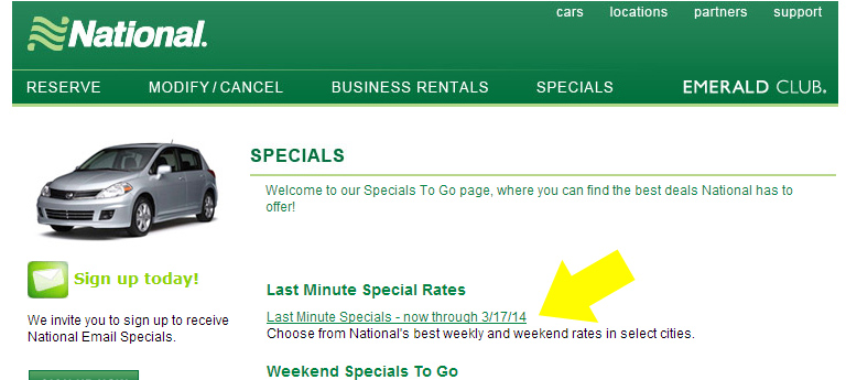 Last minute deals budget car rental