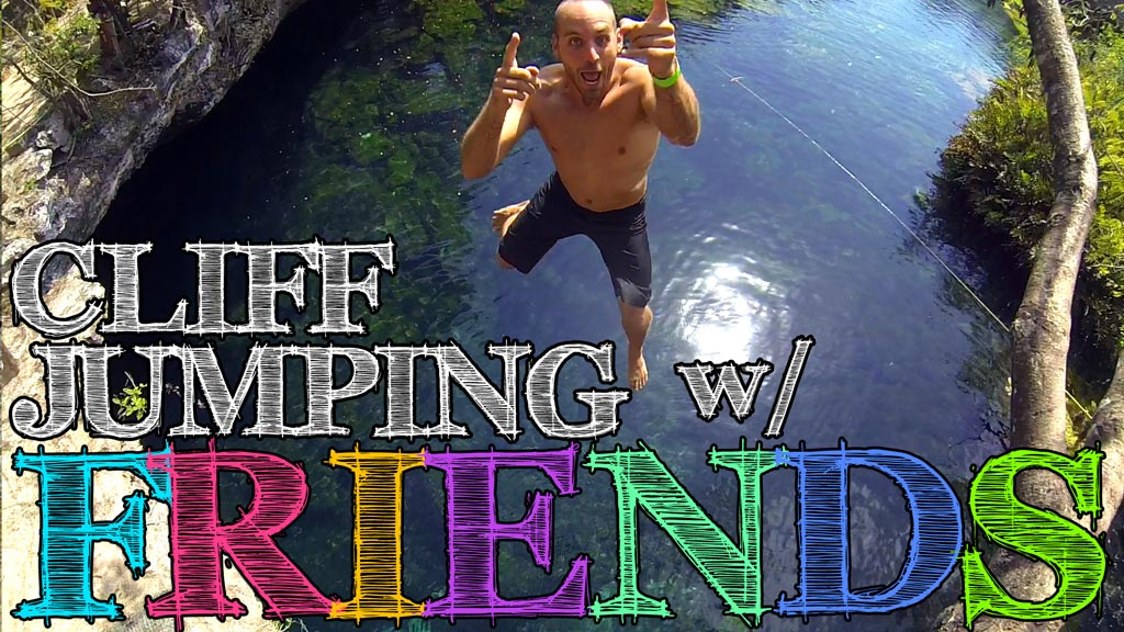 Cliff Jumping with Friends at Cenote Eden