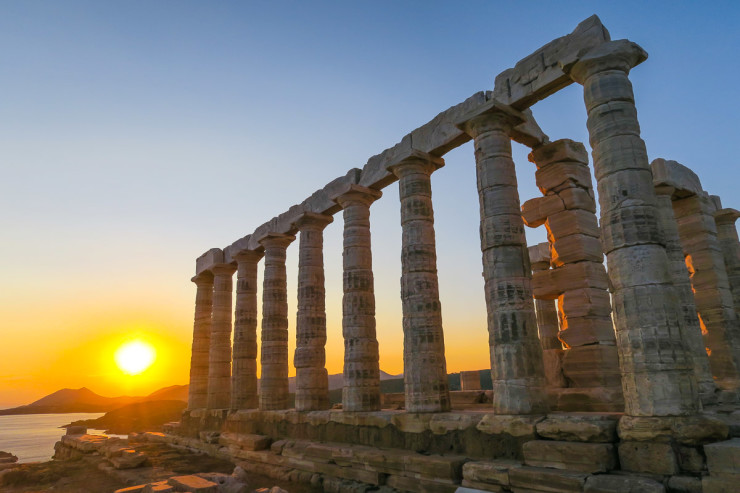 Sunset at the Temple of Poseidon - Athens, Greece