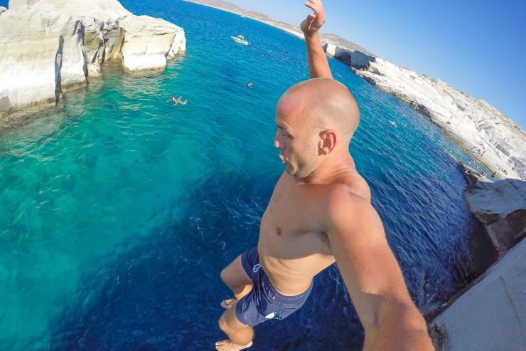 Cliff Jump at Sarakiniko Beach - Milos, Greece