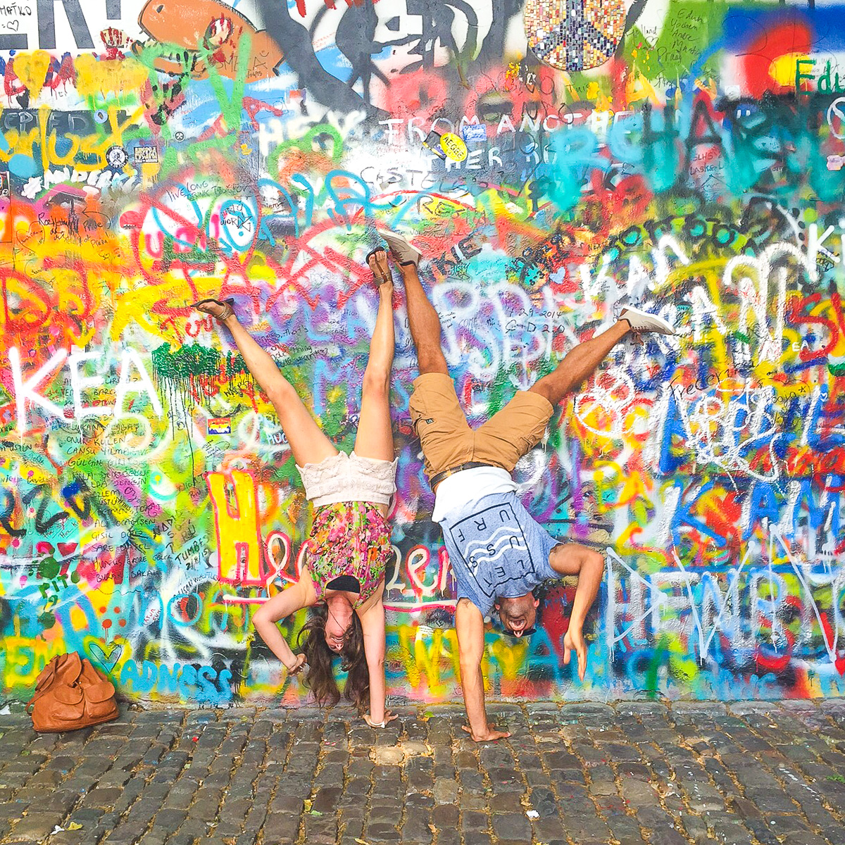 Handstands at the Lennon Wall in Prague