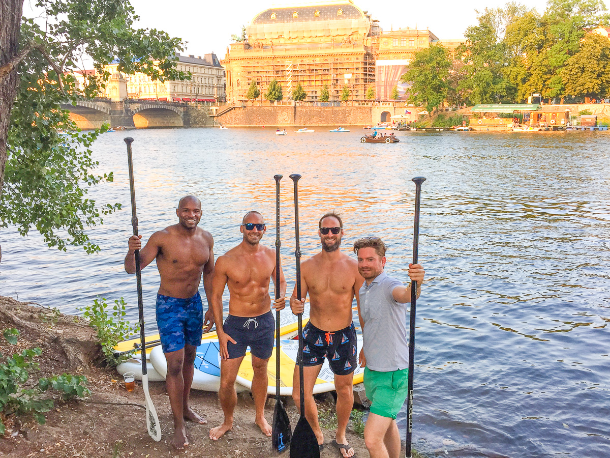 Stand up paddleboarding in Prague