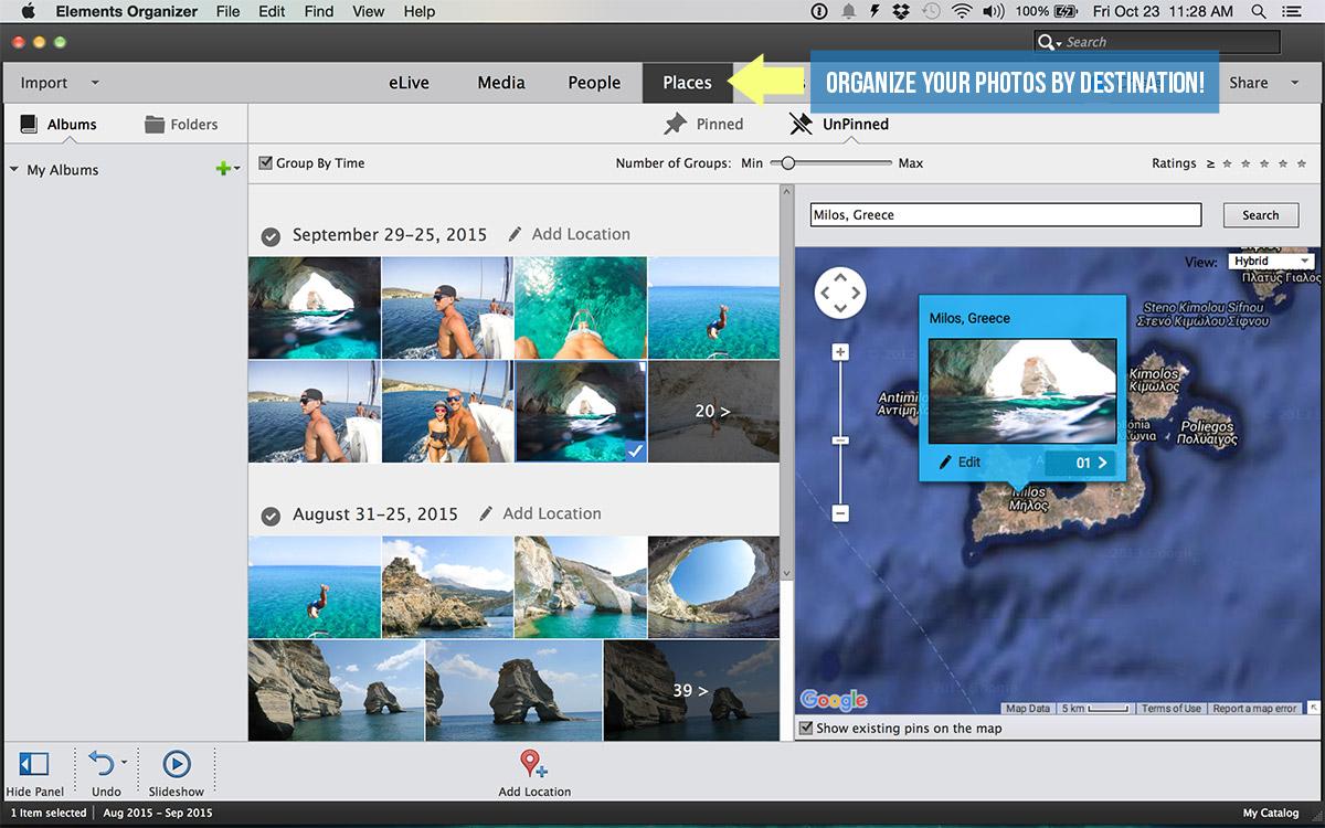 Adobe photoshop elements how to organize and manage your travel adobe photoshop elements organizer places baditri Choice Image