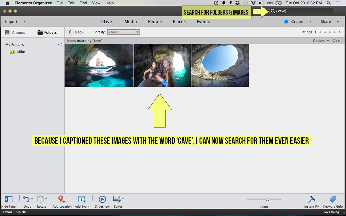 Adobe photoshop elements how to organize and manage your travel adobe photoshop elements organizer searching for images baditri Images