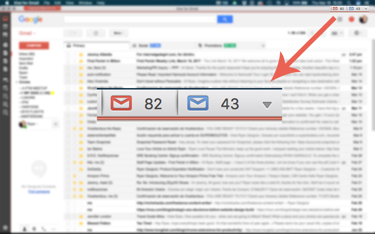 Kiwi for Gmail - Unread Count