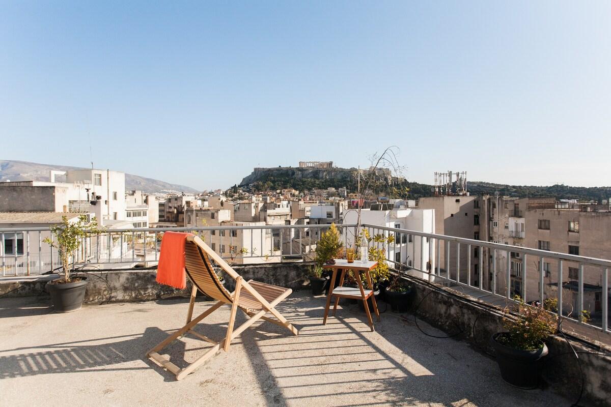 Superb Acropolis View In Studio Apartment